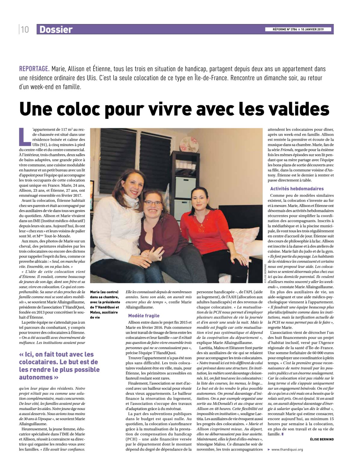 On parle de nous ! (Magazine Réforme, Janvier 2019)